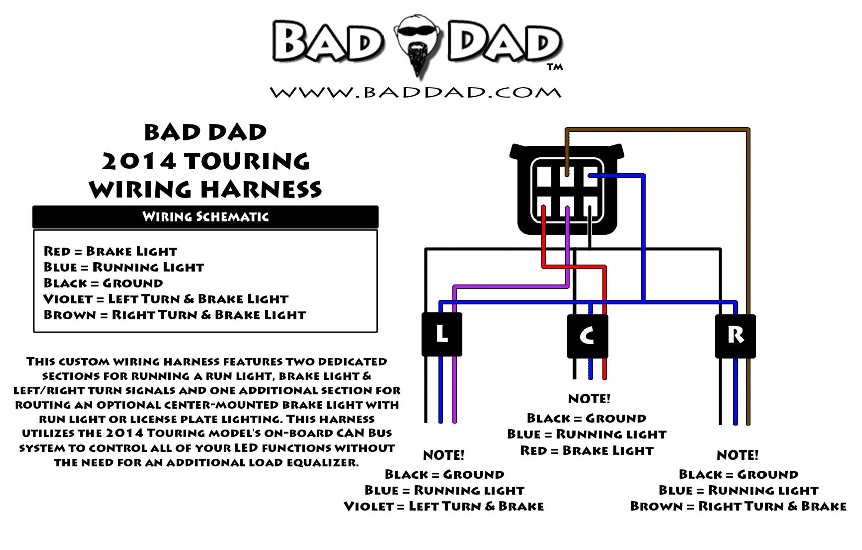 1) Bad Dad's 2014+ Wiring Harness features 3 sections: (1) center section  that will supply ground, run light & brake light functions (ideal for a  center ...