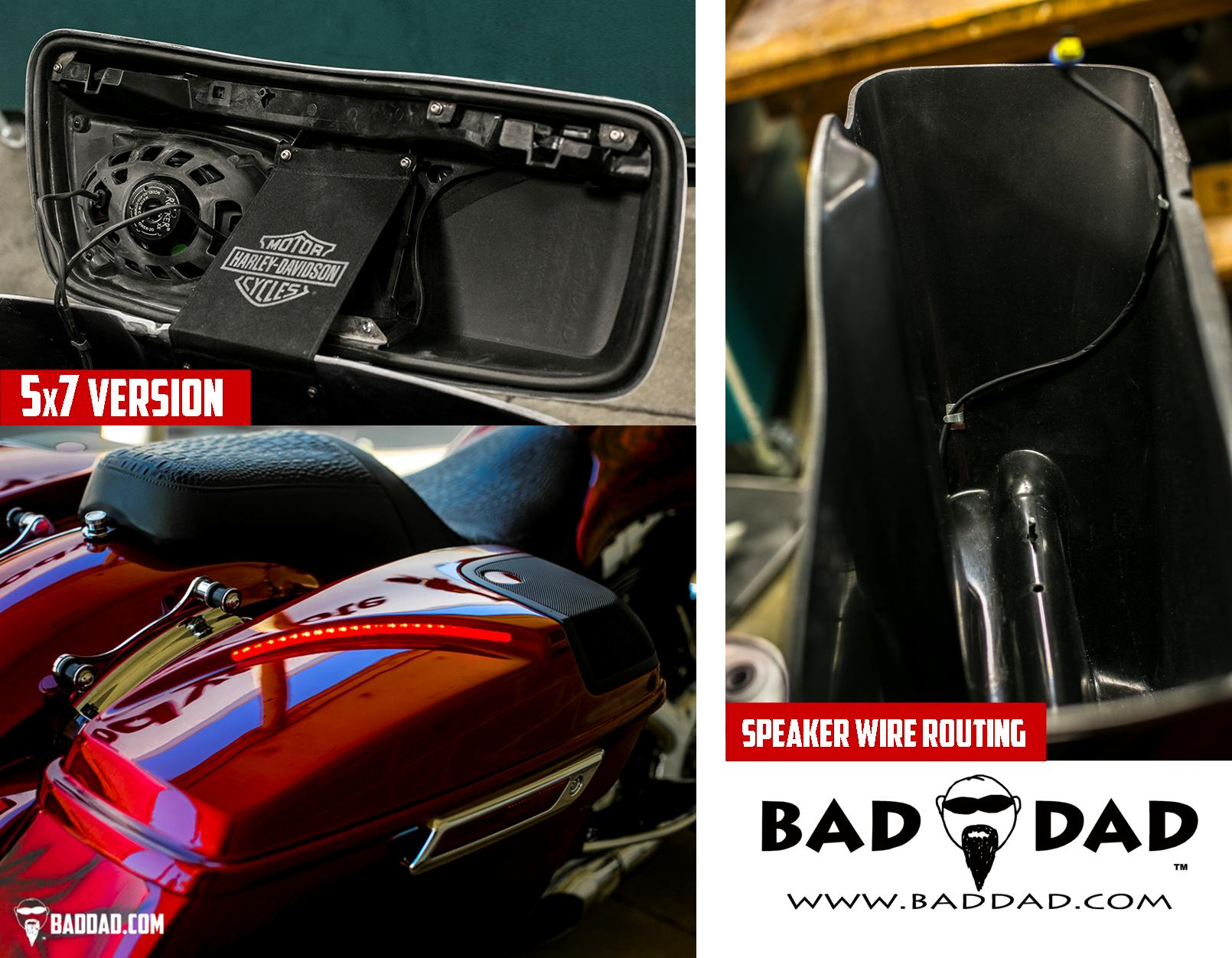 2014+ speaker lids with 5x7 speaker | bad dad | custom ... 2014 harley saddlebag speaker wiring diagram